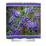 Blue Flowers With Colorful Border Shower Curtain