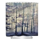 Blue Forest In Winter Shower Curtain