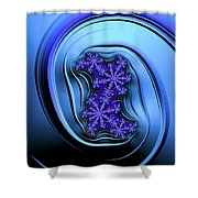 Blue Fractal Art Curved And Elegant Shower Curtain