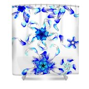Blue Fractal Flowers Shower Curtain