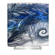 Blue Fractal Storm Shower Curtain