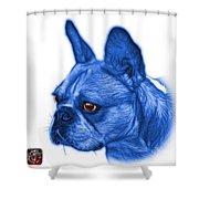 Blue French Bulldog Pop Art - 0755 Wb Shower Curtain