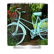 Blue Garden Bicycle Shower Curtain
