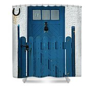 Blue Gate And Door On White House Shower Curtain
