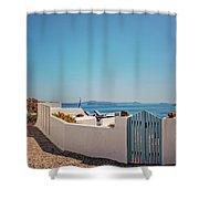 Blue Gate Santorini Shower Curtain