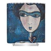 Blue Geisha Love Detail Shower Curtain