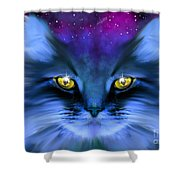 Blue Ghost Cat Shower Curtain