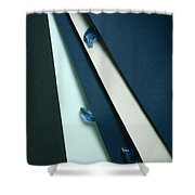 Blue Glass And Paper Shower Curtain