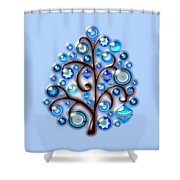 Blue Glass Ornaments Shower Curtain