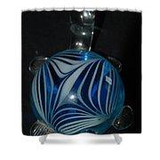 Blue Glass Turtle Shower Curtain