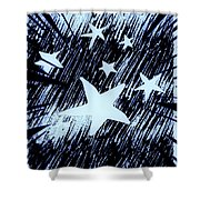 Blue Glow Starry Abstract Shower Curtain