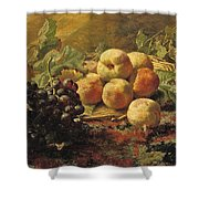 Blue Grapes And Peaches In A Wicker Basket Shower Curtain