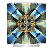Blue, Green And Gold Abstract Shower Curtain