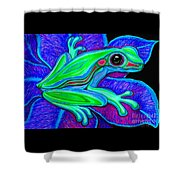 Blue Green Frog Shower Curtain