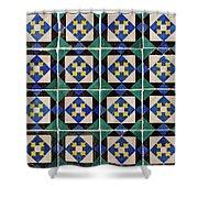 Blue Green Lisbon Tiles Souvenirs Shower Curtain