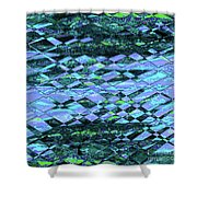 Blue Green Ocean Abstract Shower Curtain