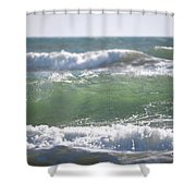 Blue Green Waves Shower Curtain