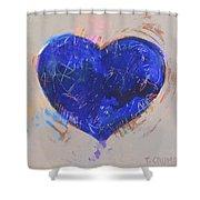 Blue Heart 126 Shower Curtain