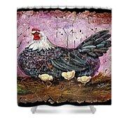 Blue Hen With Chicks Fresco Black Background Shower Curtain