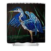 Blue Heron At Night Shower Curtain