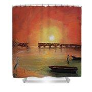 Blue Heron Bay  Shower Curtain