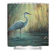 Blue Heron Fishing Shower Curtain