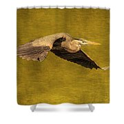 Blue Heron On Gold Shower Curtain