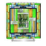 Blue Heron Stained Glass Shower Curtain
