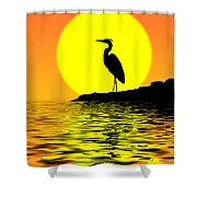 Blue Heron Sunset Shower Curtain