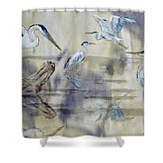 Great Blue Herons Chilling Shower Curtain