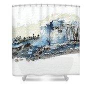 Blue Hillside Shower Curtain