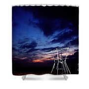 Blue Hole Tower Shower Curtain