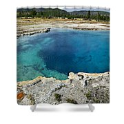 Blue Hot Springs Yellowstone National Park Shower Curtain