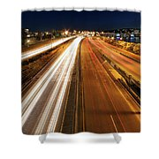 Blue Hour Freeway Light Trails Shower Curtain