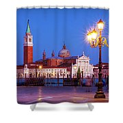 Blue Hour In Venice Shower Curtain by Barry O Carroll