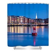 Blue Hour Over Portsmouth New Hampshire Shower Curtain