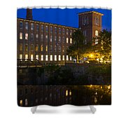 Blue Hour Over The Cocheco Mills Dover New Hampshire Shower Curtain