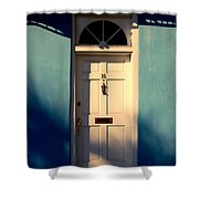 Blue House Door Shower Curtain