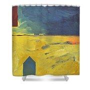 Blue House Gold Field Shower Curtain