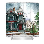 Blue House On A Grey Day Shower Curtain