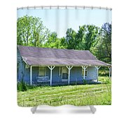 Blue House  Shower Curtain