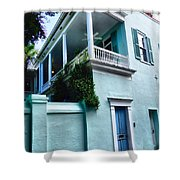 Blue House With A Blue Door Shower Curtain
