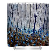 Blue In The Wood Shower Curtain