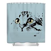Blue Kitten Portrait Shower Curtain