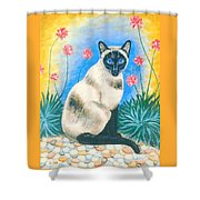 Blue Kitty Shower Curtain
