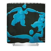 Blue Ladies Dance By The Night Shower Curtain