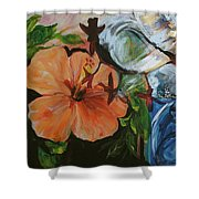 Blue Lady Collage Shower Curtain
