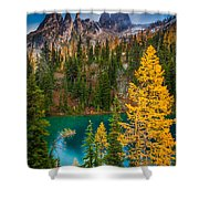 Blue Lake And Early Winter Spires Shower Curtain