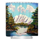 Blue Lake Mirror Reflection - Elegance With Oil Shower Curtain
