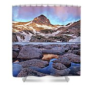 Blue Lake Sunrise Shower Curtain